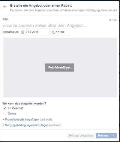 Facebook Unternehmensseite Angebot