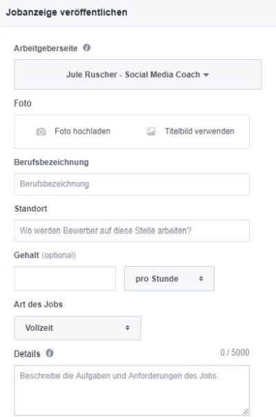 Facebook Unternehmensseite Jobanzeige schmal