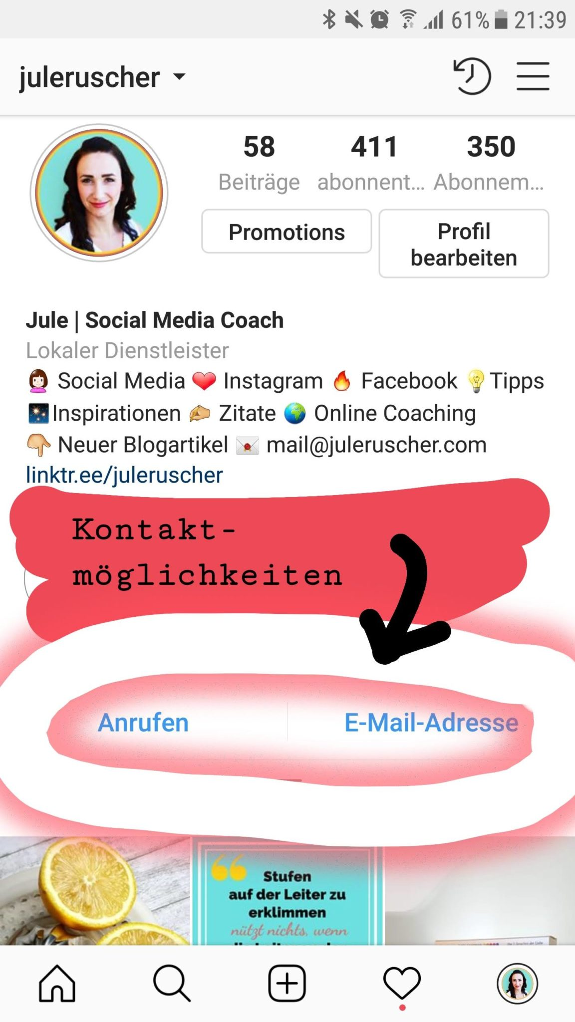 Instagram Business Kontaktmöglichkeiten